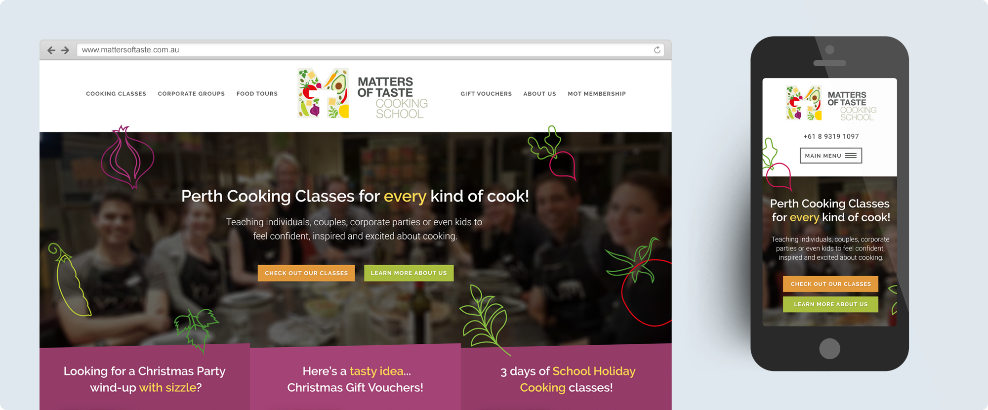 Matters of Taste Website Design